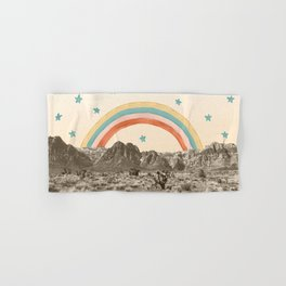 Canyon Desert Rainbow // Sierra Nevada Cactus Mountain Range Whimsical Painted Happy Stars Hand & Bath Towel