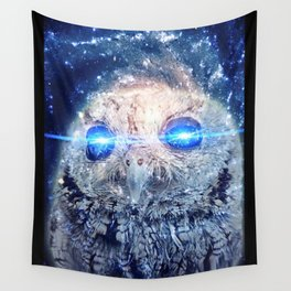 Owl with Lasers Wall Tapestry