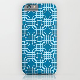 Mosaic Blue Geometric Lattice iPhone Case
