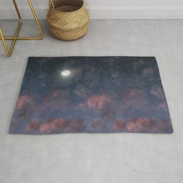 Glowing Moon on the night sky through pink clouds Rug