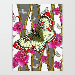 ORIENTAL STYLE BUTTERFLY & PINK ROSES GREY PATTERN DESIGN Poster