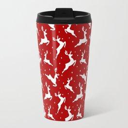 Christmas Reindeer Red Pattern Travel Mug