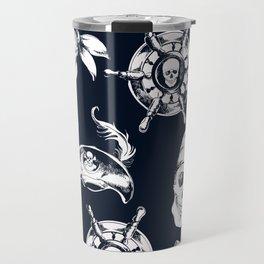 Navy Blue Pirate Pattern Travel Mug