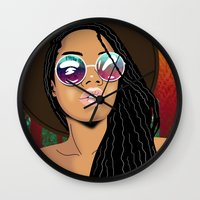 coachella Wall Clocks featuring Coachella Chic by Mark Baker-Sanchez