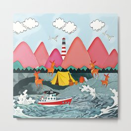 Lighthoue and the boat Metal Print