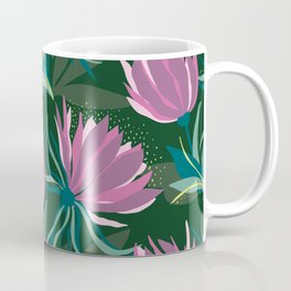 Dark and Moody Purple and Green Floral Coffee Mug