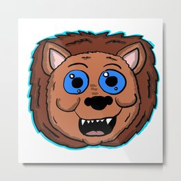 Cartoon Lion Head Metal Print