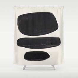 Mid Century Modern Minimalist Abstract Art Brush Strokes Black & White Ink Art Tribal Pebbles Shower Curtain