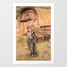 Watercolor Painting of a Shepherd Boy and his Dog Art Print