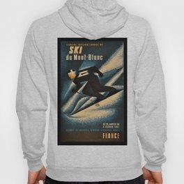 1951 Ski Mont Blanc Lithograph Vintage Poster - Advertisement Wall Art Hoody