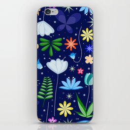 Flowers and leaves in a blue background iPhone Skin