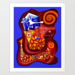 Versophomus V3 - abstract printable digital artwork, contemporary design, modern abstract map Art Print