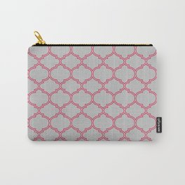 Grey and Red Lattice Carry-All Pouch