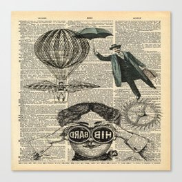 newspaper print dictionary page binoculars hot air balloon victorian steampunk Canvas Print