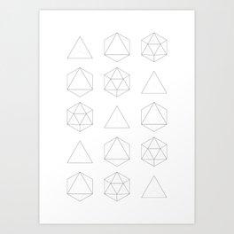 Geometry: Tetrahedron, Octahedron, Icosahedron Art Print
