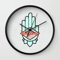 welcome Wall Clocks featuring Welcome by Josh Franke