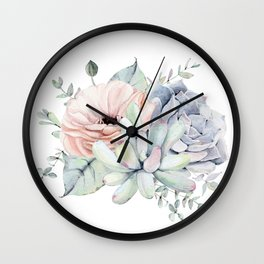 Pretty Succulents by Nature Magick Wall Clock