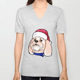 Shih Tzu Dog Christmas Hat Present Unisex V-Neck