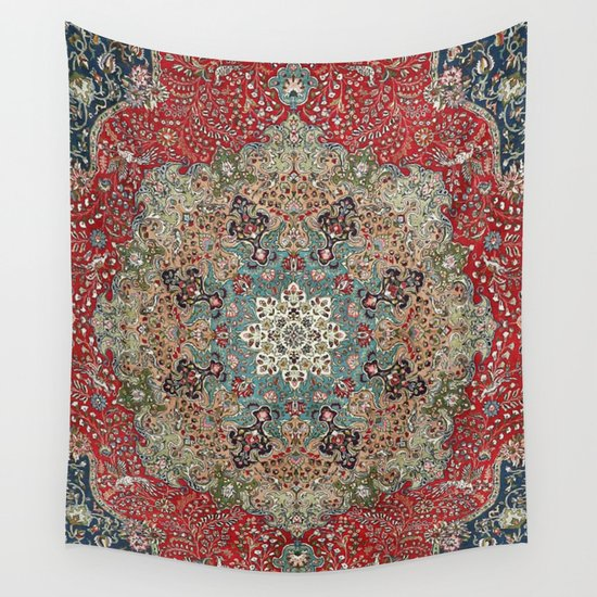 Antique Red Blue Black Persian Carpet Print by vickybragomitchell