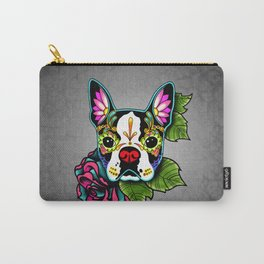 Boston Terrier in Black - Day of the Dead Sugar Skull Dog Carry-All Pouch