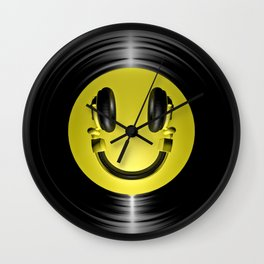 Vinyl headphone smiley Wall Clock
