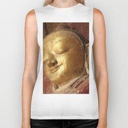 Buddha Head Gold Illustration Biker Tank