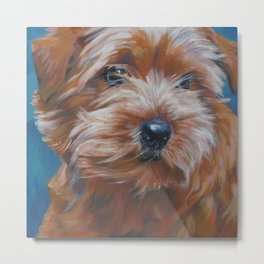 Norfolk Terrier Dog Portrait Art from an original painting by L.A.Shepard Metal Print