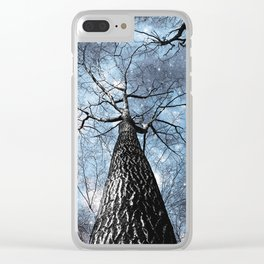 Wintry Trees Galaxy Skies Steel Blue Clear iPhone Case