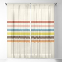 Classic Retro Stripes Govannon Sheer Curtain