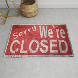 Vintage style Sorry We're Closed sign. Rug