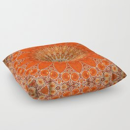 Detailed Orange Boho Mandala Floor Pillow