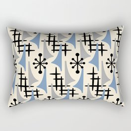 Mid Century Modern Atomic Wing Composition Blue & Grey Rectangular Pillow