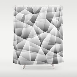 Exclusive light monochrome pattern of chaotic black and white fragments of glass and ice floes. Shower Curtain