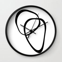 Interlocking Two - Black & White Wall Clock