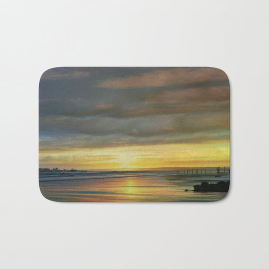 Captivating Sunset Over The Harbor  Bath Mat