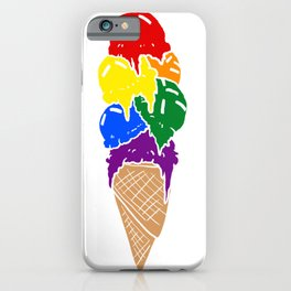 Rainbow Icecream Cone Melted Sweet Foodie LGBT Gift iPhone Case
