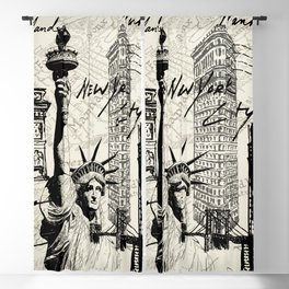New York City Vintage Postal Stamp Scripts Blackout Curtain