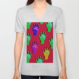 red clap hand Unisex V-Neck