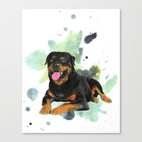 rottweiler Canvas Prints featuring Rottweiler happy by Cami Landia