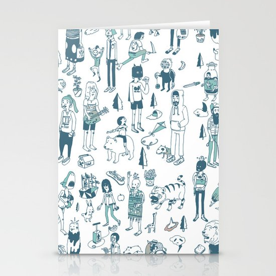 Crowd Pattern Stationery Cards