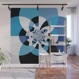Dual Poles Blue Kaleidoscope Mandala Wall Mural