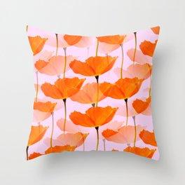 Orange Poppies On A Pink Background #decor #society6 #buyart Throw Pillow