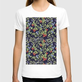 Seamless texture of branches of green grass and wild berries. T-shirt