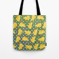 banana Tote Bags featuring banana by mark ashkenazi