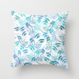 The Many Faces of Beauty Throw Pillow