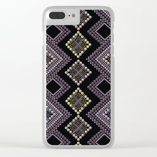 Folk beads circles ethnic pattern Clear iPhone Case