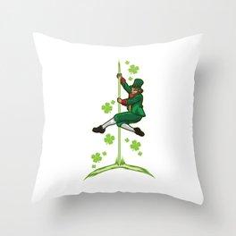 Pole Dance Leprechaun - Pole Fitness Ireland Lucky Throw Pillow