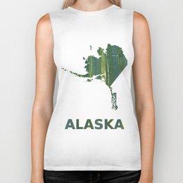 Alaska map outline Deep moss green watercolor Biker Tank