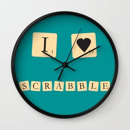 I heart Scrabble Wall Clock
