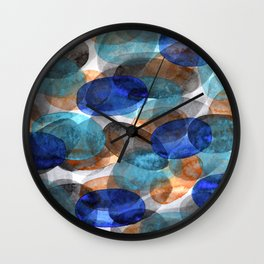 Blue Gray Orange Ovals Wall Clock